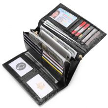 REALER women wallet genuine leather purse female zipper folding wallet with wristlet strap long purse for coin/phone/credit card