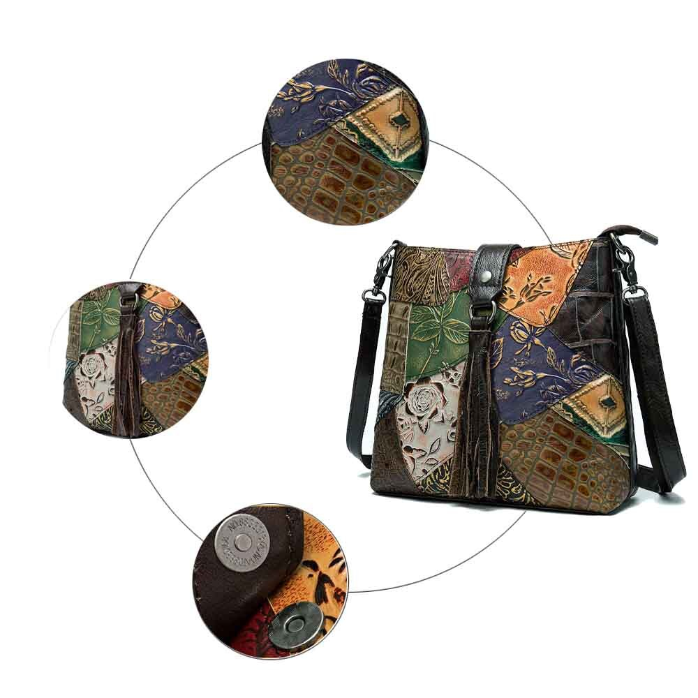 Women Bucket Bag Cowhide Leather Patchwork Style Embossing Shopper Bag Brand Design Fashion Bags Ladies Luxury Bags 2019 New