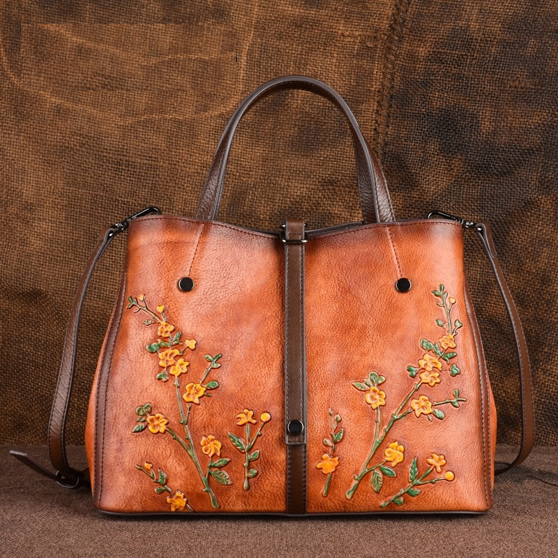Johnature Genuine Leather Retro Embossed Women Handbags&Crossbody Bags 2020 New Large Capacity Cowhide Fashion Floral Totes