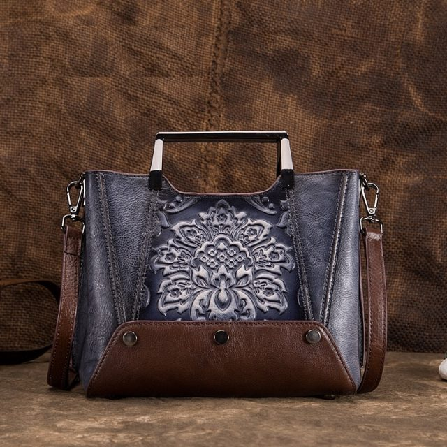 Johnature 2020 New Vintage Women Handbags Genuine Leather Handmade Embossing Floral Cow Leather Shoulder&crossbody Bags