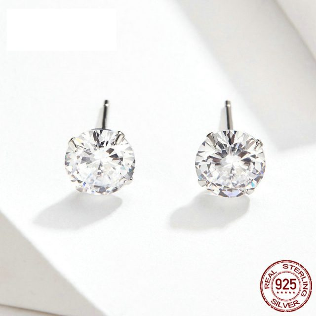 bamoer HOT SALE Basic Wedding Stud Earrings Solid Silver 925 Clear Cubic Zirconia 7mm  Women Statement Jewelry BSE166