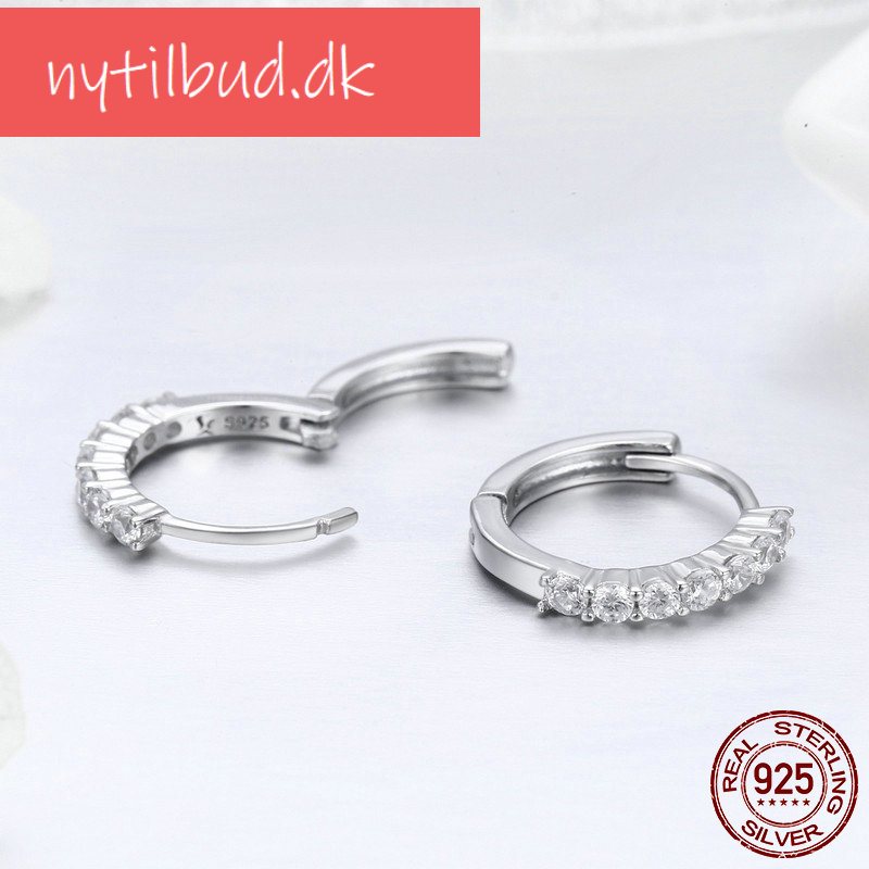 BAMOER 100% 925 Sterling Silver Dazzling CZ Crystal Circle Round Hoop Earrings for Women Sterling Silver Jewelry SCE351-1H