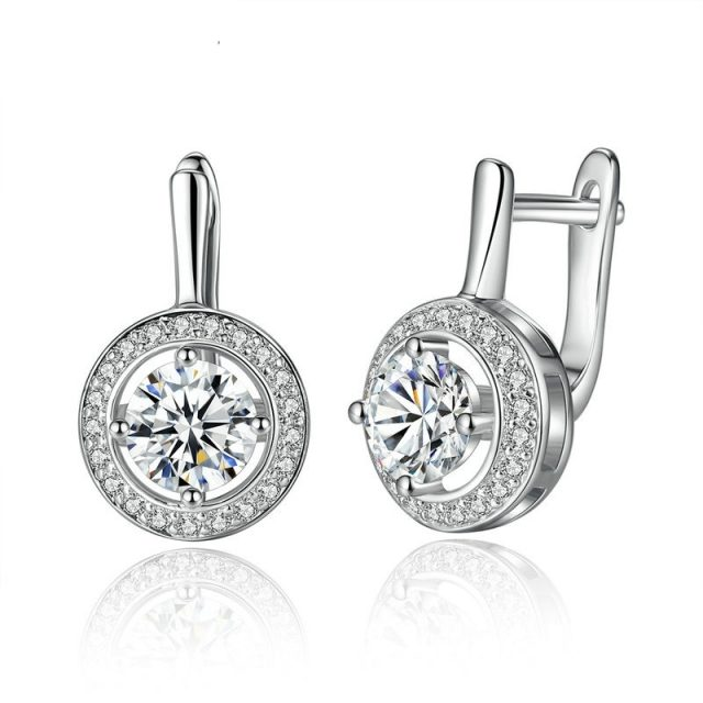 BAMOER New Arrival Silver Color Round Shape Full Of Love Dangle Earrings For Women Fashion Jewelry YIE106