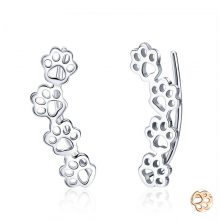 BAMOER Hot Sale 925 Sterling Silver Paw Trail Cat And Dog Footprints Stud Earrings for Women Sterling Silver Jewelry SCE430
