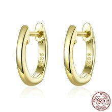 BAMOER Genuine 925 Sterling Silver Round Circle Hoop Earrings for Women Gold Color Earrings Sterling Silver Jewelry Gift SCE498
