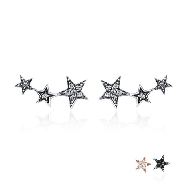 BAMOER Authentic 925 Sterling Silver CZ Exquisite Stackable Star Stud Earrings for Women Jewelry Valentine's Day Gift SCE175