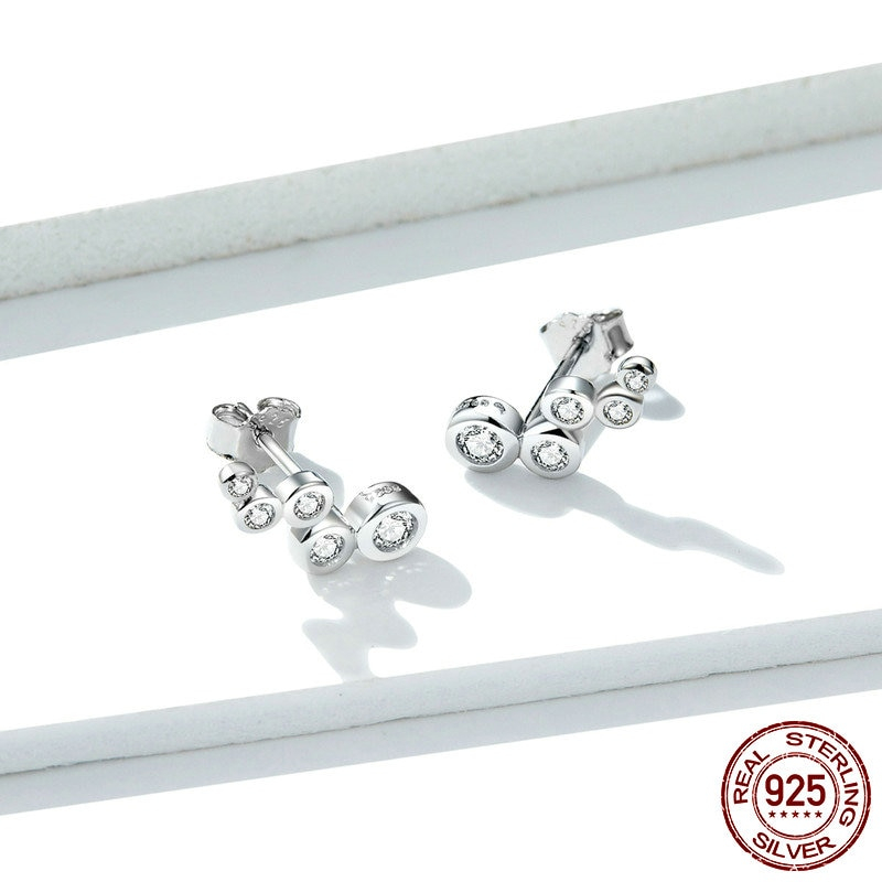 bamoer Shiny Bubble Long Stud Earrings for Women Geometric Simple 925 Sterling Silver Jewelry Statement Engagement Gift  BSE235