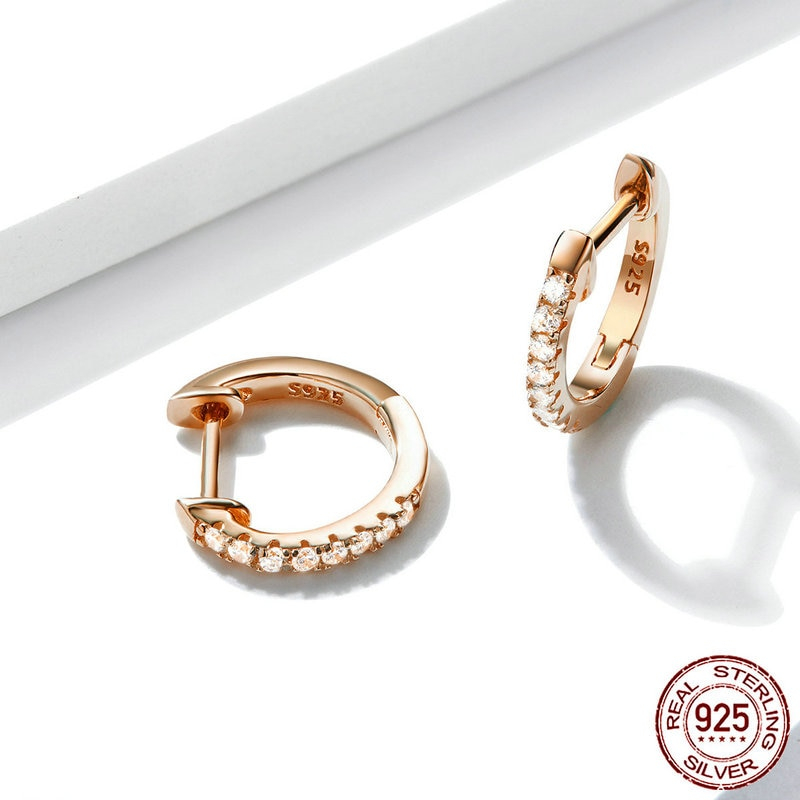 bamoer 6 Colors Sparkling Circle Earrings for Women Silver 925 Rose Gold Color Wedding Statement Jewelry Brincos SCE498-C