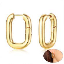 Vnox Personalized Carabiner Designed Earrings for Women Gold Tone Stainless Steel Square Hoop Earring Her Gift