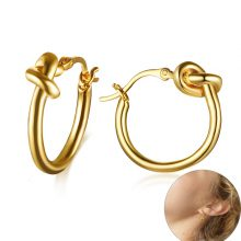 Vnox Stylish Knot Hoop Earrings for Women Tied Stainless Steel Small Earrings Unique Lady Minimalist Metal Candid Party Jewelry