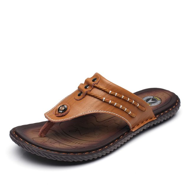 DEKABR Cow Leather Men Beach Slippers Fashion Flip Flops With Soft Sole Trendy Breathable Easy To Match Men Summer Shoes Men