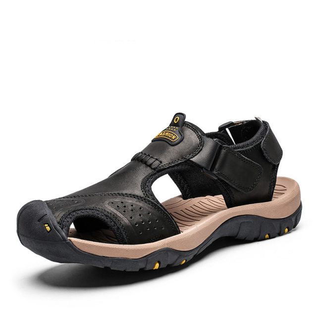 DEKABR New Summer Sandals Men Genuine Leather High Quality Beach Outdoor Sandals Comfortable Soft Footwear Rubber Shoes Size 48