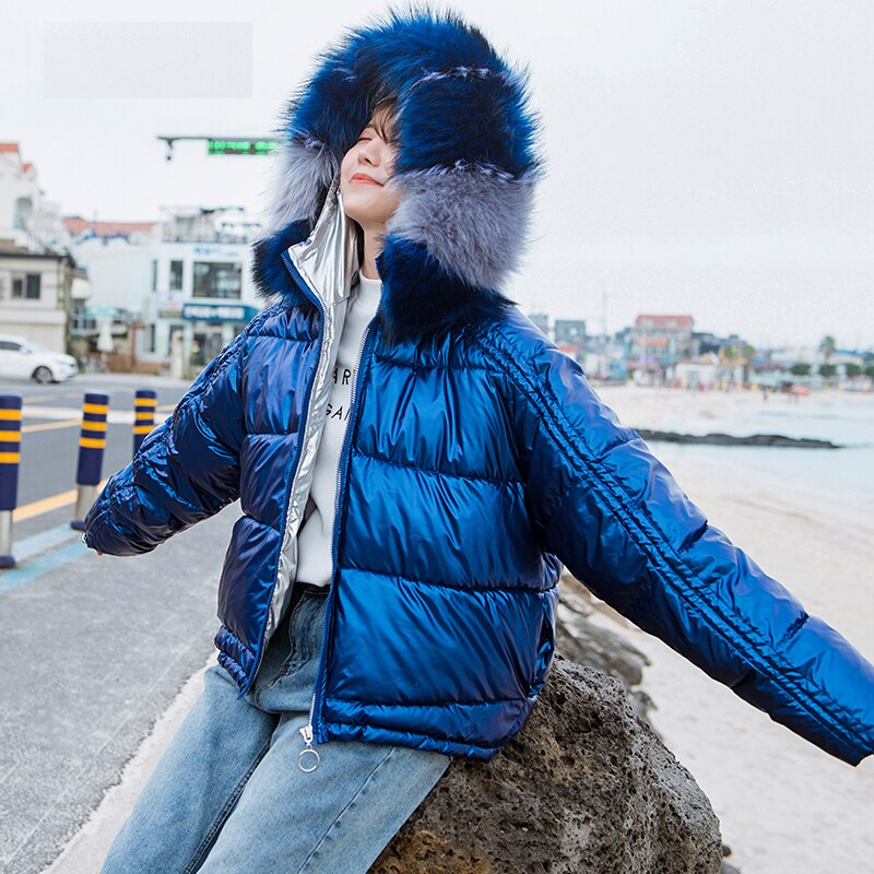 Fitaylor Winter Large Fur Collar Glossy Short Jacket Women Loose Zipper Cotton Padded Parka Bright Side Silvery Hooded Outwear